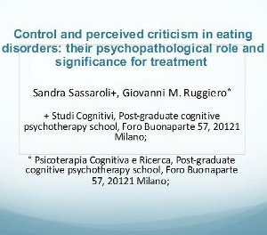 Control and Perceived Criticism in Eating Disorders
