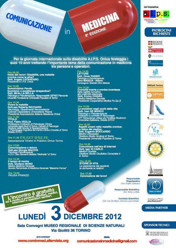 3 Dicembre 2012 - Torino - Convegno: COMUNICAZIONE IN MEDICINA - Programma