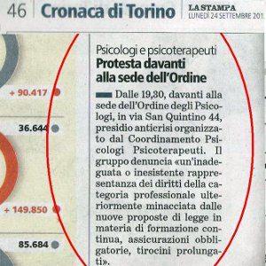 Il Flash Mob davanti all'Ordine degli Psicologi del Piemonte - Dettaglio Articolo La Stampa 24 settembre 2012