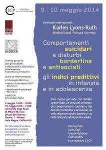 Comportamenti suicidari e Disturbi Borderline e Antisociale- Indici predittivi in infanzia e adolescenza - LOCANDINA -
