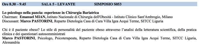 Chirurgia bariatrica - Congresso SITCC 2014