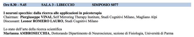 I neuroni specchio dalla ricerca alle applicazioni in psicoterapia - SITCC 2014