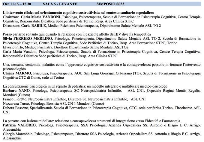 L'intervento clinico ad orientamento cognitivo - sitcc 2014