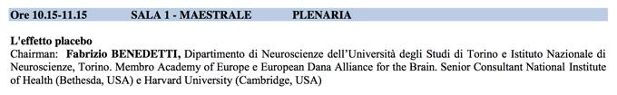 Effetto Placebo PLenaria - SITCC 2014