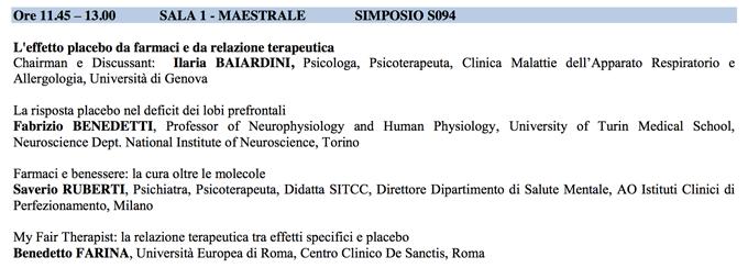 Effetto Placebo da farmaci e da relazione terapeutica - SITCC 2014