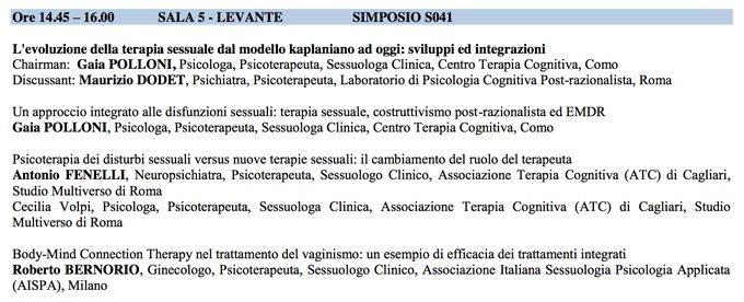 Evoluzione della Terapia Sessuale - SITCC_2014
