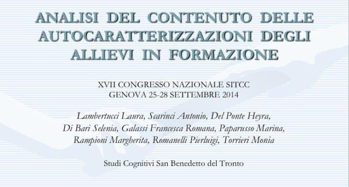 Analisi del contenuto delle autocaratterizzazioni degli allievi in formazione – Congresso SITCC 2014