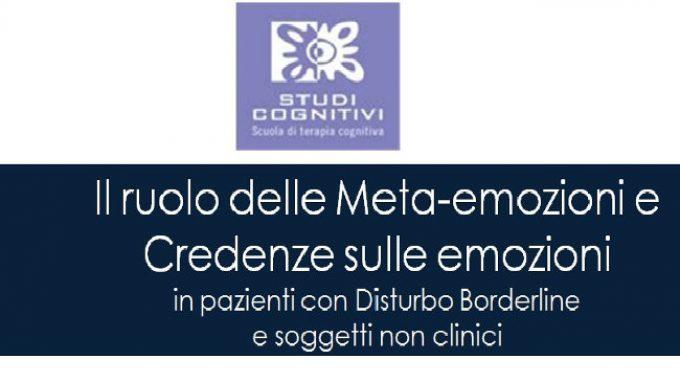 Il ruolo delle Meta-emozioni e Credenze sulle emozioni – Congresso SITCC 2014