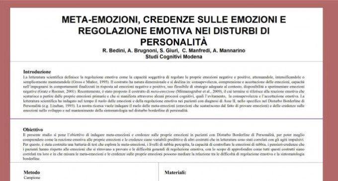 Meta-emozioni, credenze sulle emozioni e regolazione emotiva nei disturbi di personalità – Dal Forum di Assisi 2015
