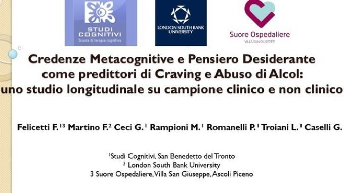 Metacognitive beliefs and Desire Thinking as Predictors of Craving and Alcohol Use – Forum di Assisi 2015