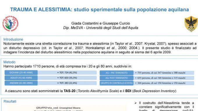 Trauma e alessitimia: studio sperimentale sulla popolazione aquilana – Dal Forum di Assisi 2015