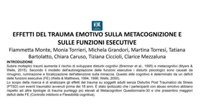 Effetti del trauma emotivo sulla metacognizione e sulle funzioni esecutive – Forum di Assisi 2015