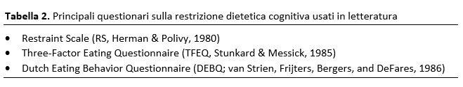 La restrizione dietetica cognitiva il problema della sua misurazione - TAB 2