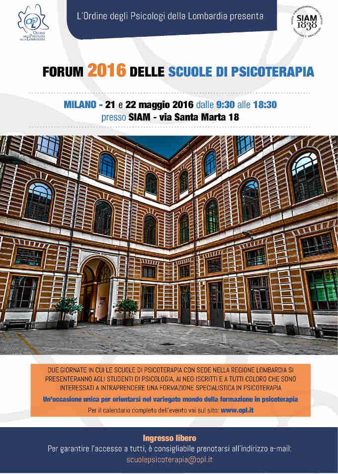 Forum 2016 delle Scuole di Psicoterapia - Milano, 21 e 22 Maggio 2016 - FEATURED