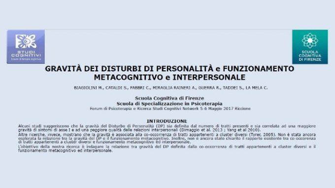 Gravità dei disturbi di personalità e funzionamento metacognitivo e interpersonale – Riccione, 2017