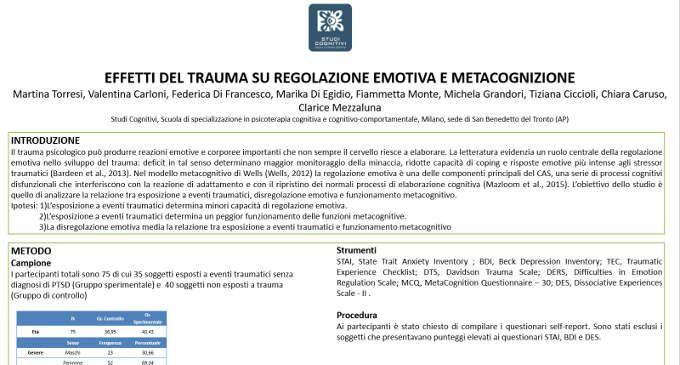 Effetti del trauma su regolazione emotiva e metacognizione – Riccione, 2017