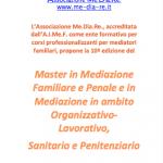 Master in Mediazione Familiare e Penale e in Mediazione in ambito Organizzativo-Lavorativo, Sanitario e Penitenziario