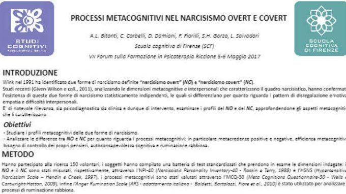 Processi metacognitivi nel narcisismo overt e covert – Riccione, 2017