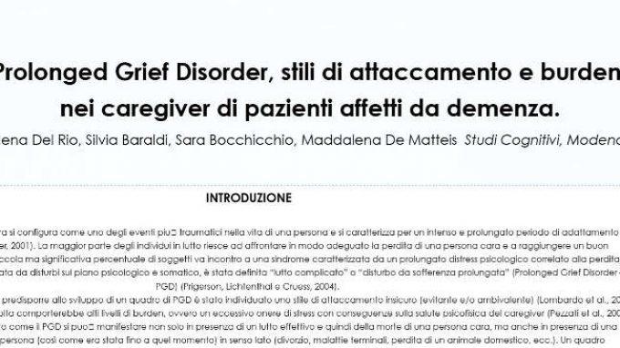 Prolonged grief disorder, stili di attaccamento e burden in caregiver di pazienti affetti da demenza – Riccione, 2017