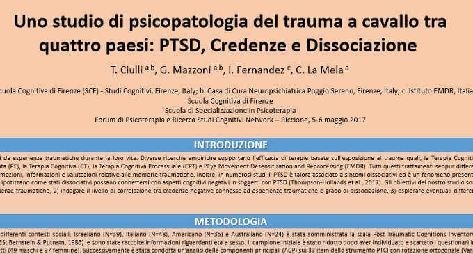 Uno studio di psicopatologia del trauma a cavallo tra quattro paesi: PTSD, Credenze e Dissociazione – Riccione, 2017