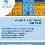 Studi Cognitivi Modena: presentazione della Scuola di Psicoterapia - 11 Settembre 2018