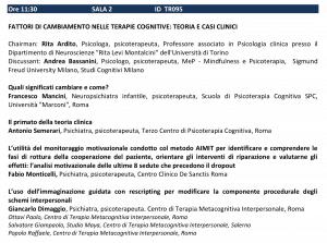 FATTORI DI CAMBIAMENTO NELLE TERAPIE COGNITIVE TEORIA E CASI CLINICI - SITCC 2018