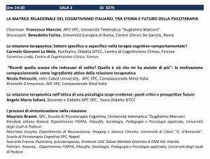 LA MATRICE RELAZIONALE DEL COGNITIVISMO ITALIANO TRA STORIA E FUTURO DELLA PSICOTERAPIA - SITCC 2018