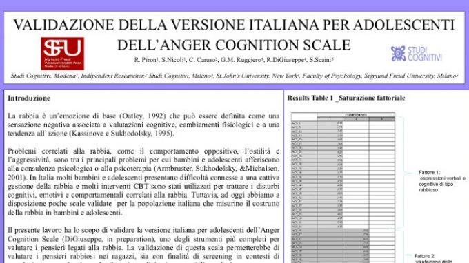 Validazione della versione italiana dell'Anger Cognition Scale per bambini e adolescenti – Congresso SITCC 2018