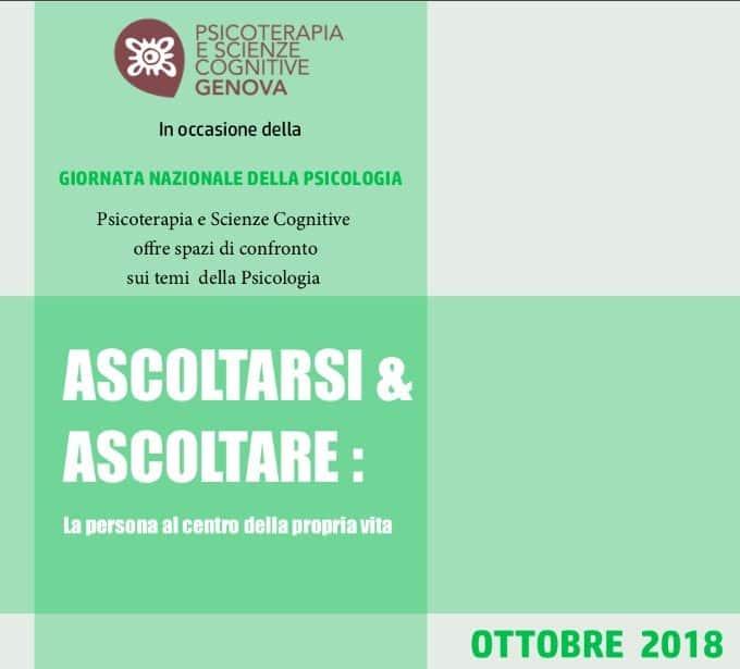 Ascoltarsi e ascoltare incontri gratuiti con psicologi -Genova, Ottobre 2018