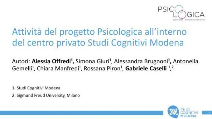 Attività del progetto Psicologica del centro privato Studi Cognitivi Modena – Congresso SITCC 2018
