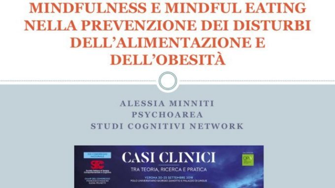 Mindfulness e mindful eating nella prevenzione dei disturbi dell'alimentazione e dell'obesità – Congresso SITCC 2018