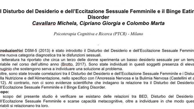 Il Disturbo del Desiderio e dell'Eccitazione Sessuale Femminile e il Binge Eating Disorder – Riccione, 2019