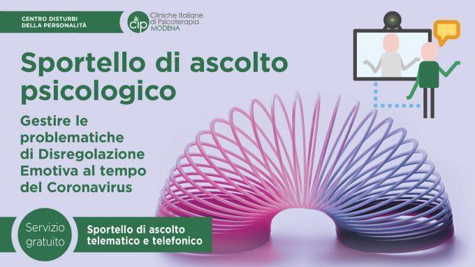 Coronavirus: come gestire le problematiche di Disregolazione Emotiva – Il Centro Disturbi della Personalità di Modena offre uno sportello di ascolto psicologico gratuito