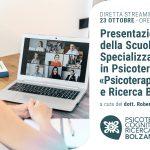 Psicoterapia Cognitiva e Ricerca Bolzano: presentazione della Scuola di Psicoterapia - EVENTO IN DIRETTA STREAMING, 23 Ottobre 2020