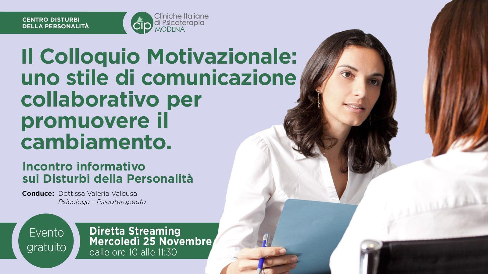 CIP MODENA - 201125 - Colloquio Motivazionale - Banner