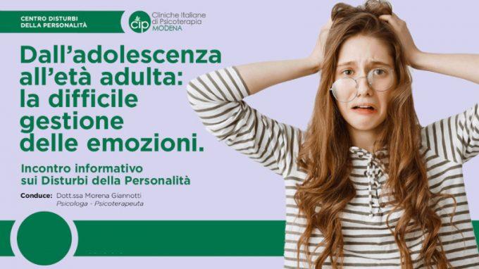 Dall'adolescenza all'età adulta: la difficile gestione delle emozioni – Video e report dal webinar organizzato dal CIP Modena