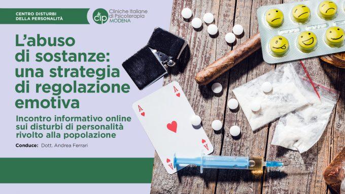 L'abuso di sostanze: una strategia di regolazione emotiva – Video dal webinar organizzato dal CIP Modena