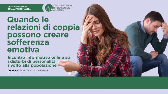 Quando le relazioni di coppia possono creare sofferenza emotiva – VIDEO dal webinar organizzato da CIP Modena